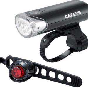 Cateye EL135 and Orb Black Rear Bike Combo Light Set